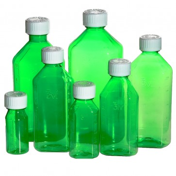Green Oval Bottles with Oral Adapters