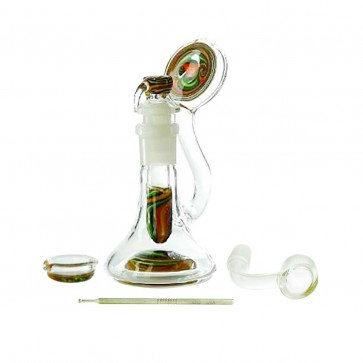 "6"" Dual Reversal Dab Rig with Quartz Banger and Flower Bowl"