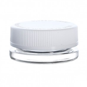 Child Resistant Thick Wall Glass Concentrate Container 15ML White Cap - 60 Units