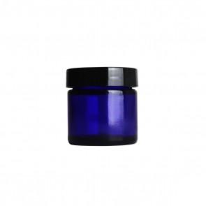 1oz Blue Glass Jar w/ Black Plastic Cap - 40 units