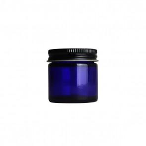 1oz Blue Glass Jar w/ Black Metal Cap - 40 units