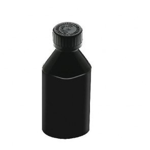 4 oz Opaque Black Oval Bottles w/ Black Cap - 120 Count