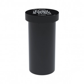 Push & Turn Cap Vial Black 40 Dram - 135 Units/Box