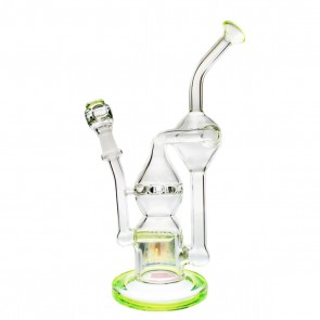 "Pure Glass 9"" Infinity Recycler Green 10mm - Flower and Dab"