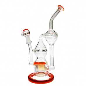 "Pure Glass 9"" Infinity Recycler Orange 10mm - Flower and Dab"