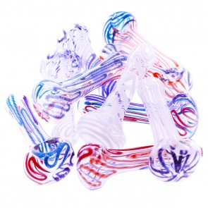 """3""""-4"""" Glass Pipe with Lines / Swirl mix - 10 units"""