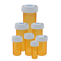 Amber colored reversible cap vials for dispensary use