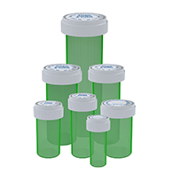 Green Reversible cap vials child proof