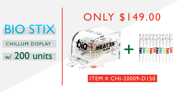 Biostix Glass chillums 200 Chillums and Tabletop Display
