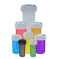 Assorted Colors on child resistant reversible cap vials for dispensaries
