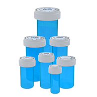 Blue reversible cap vials