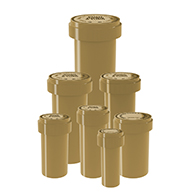 Gold Reversible cap vials child proof