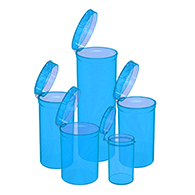 Marijuana packaging and dispensary supply Blue Pop Top Bottles